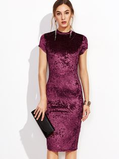 Online shopping for Burgundy Mock Neck Cap Sleeve Velvet Pencil Dress from a great selection of women's fashion clothing & more at MakeMeChic.COM.