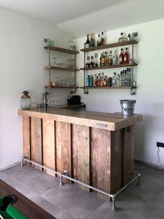 Bespoke drinks Bar for Summer Cabin and matching shelves Home Bar Rooms, Diy Home Bar, Home Pub, Bars For Home, Mini Bar At Home, Modern Home Bar, Basement Bar Designs, Home Bar Designs, Small Basement Bars