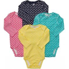 Carters NB & 9 Months 4-pk Long Sleeve Bodysuits Baby Girl Clothes Cotton NWT #Carters #DressyEveryday