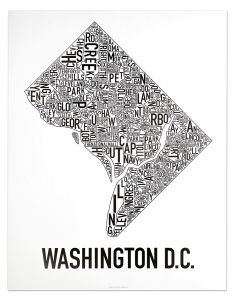 Simple, typographic Washington DC neighborhood map to hang on your wall or give as a unique gift. Several sizes and colors to choose from for $18-35.