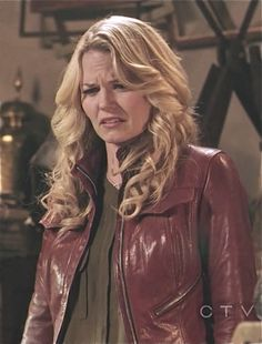 Jennifer Morrison (Emma Swan on Once Upon A Time) in her patented red leather jacket.    Designed by Oceandriver Leather (Based out of Vancouver).