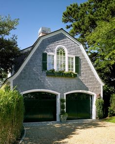 Garages & Carriage Houses | Gambrel detailed roof and wood shingled facade