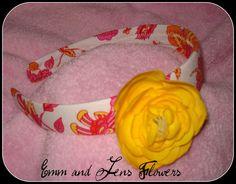 Floral Print Headband with 3 Inch Ranunchulus by Emmandjensflowers, $7.00