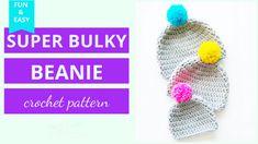 Super Bulky Crochet Hat Pattern (free & easy) | Chunky Crochet Hat Basic Crochet Beanie Pattern, Chunky Crochet Hat, Beanie Knitting Patterns Free, Beanie Pattern Free, Crochet Blanket Patterns, Crochet Hats, Free Crochet, Scarf Crochet, Pants Pattern