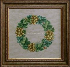 """""""Wine wreath"""". Cross-stitch chart. The replica of the antique pattern. Designer: © Belikova Yana, 2014. Stitch count 150w x 150h., 27 colors, cotton embroidery floss DMC (no blend colors).  Embroidery."""