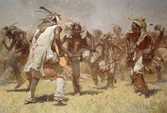 """Limited Edition CanvasImage size:32""""""""w x 22""""""""h.Edition Size: 45This is one of Z.S. Liang's most dynamic visions of Native American life. The passion and might of these warriors is palatable as they"""