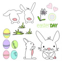 Easter Day BUNNIES: SWC:003 | Seasonal wall clings / wall decals