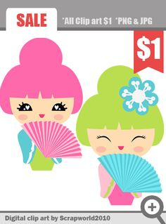 Kokeshi kawaii japanese doll digital clipart