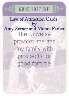 #Law_of_Attraction Cards #Daily #Affirmation #Good_Fortune  The universe provides me and my family with prospects for good fortune.  Find out more at https://www.facebook.com/CoyotesRealm or https://plus.google.com/u/0/b/108756014475871724783/108756014475871724783/posts  #CoyotesRealm #RobynDMartland #Approved_Faulkner_Trainer #Tarot #Oracle #Pictish #Runes #Readings #Reiki & #Tarot #Courses #Cheshire