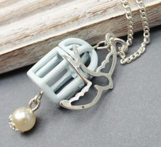 Blue Birdcage with Silver Bird Necklace by JewelryJust4You on Etsy