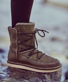 Our exclusive @uggaustralia  booties are simultaneously cozy and cool, all while withstanding the season's toughest elements with water-resistant fabrications. Lace up detailing and leather trim lend a touch of snow bunny style