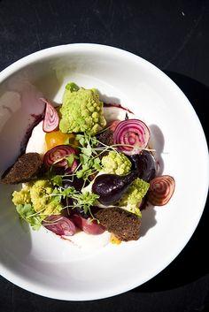 Warm salad of beets, & romanesco,  cauliflower, goat cheese puree & pumpernickel chips