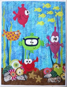 Under the Sea quilt idea for my soon to be niece.who lives on the ocean.dad is a scuba diver. I love this might be in order for a new Great grand baby Quilt Baby, Baby Quilt Patterns, Applique Patterns, Applique Quilts, Cute Quilts, Small Quilts, Mini Quilts, Children's Quilts, Quilting Projects