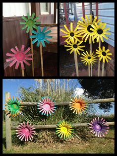 "Tin can Flowers! Super easy and very fun to make. ""wood fence Tin can flowers"", ""Tin can Flowers! Super easy and very fun to make. Use pop cans too. Soda Can Crafts, Crafts To Do, Crafts For Kids, Diy Crafts, Tin Can Flowers, Metal Flowers, Wooden Flowers, Fabric Flowers, Aluminum Can Crafts"