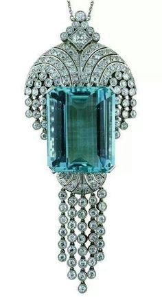 53.34 carat aquamarine pendant, made in England, c. 1930