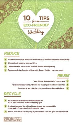 These are so helpful, 10 Tips for an Eco-Friendly Wedding. Follow us @SIGNATUREBRIDE on Twitter and on FACEBOOK @ SIGNATURE BRIDE MAGAZINE