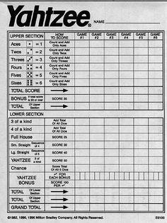 Yahtzee Score Card Template - Yahtzee Score Card Template , Yahtzee Score Sheets Printable for Free Yahtzee Game, Yard Yahtzee, Dice Games, Yahtzee Rules, Jenga Game, Free Games For Kids, Outdoor Games For Kids, Pep Rally, School