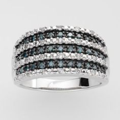 Sterling+Silver+1/2-ct.+T.W.+Blue+&+White+Diamond+Seven-Row+Ring