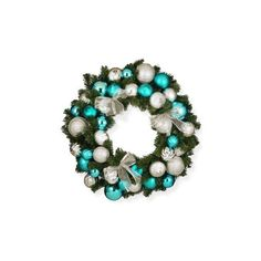 """National Tree Company 30"""" Silver and Blue Mixed Ornament Wreath ($120) ❤ liked on Polyvore featuring home, home decor, holiday decorations, silver ornaments, silver wreath, blue wreath, blue ball ornaments and silver home accessories"""