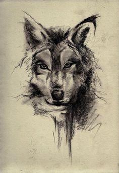 Abstract wolf tattoo idea