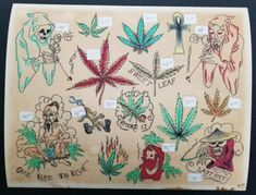 This sheet is the closest to the original sheet as could be possibly made. colors on this one are super cool and goodness. Weed Tattoo, Light Painting, Body Painting, Body Art Tattoos, Print Tattoos, Antique Tattoo, Motor Tattoo, Tattoo Flash Sheet, Bodypainting