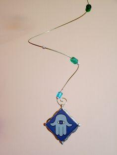 U-Boutique Shops | Unique mobile with exquisite blue fused glass Hamsa protective hand pendant | Unique by Agi
