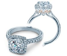 COUTURE-0430DCU-TT - COUTURE-0430DCU-TT engagement ring from the Couture Collection, featuring a rose gold profile and 0.70Ct. of round brilliant diamonds to enhance a round diamond center. Available in Gold and Platinum.