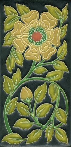 4x8 Tudor Rose in Gold Salmon by Motawi Tileworks