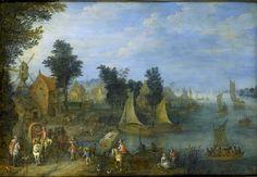 Bredael, Joseph van -- Dorp aan de oever van een rivier., 1723. Рейксмузеум: часть 1