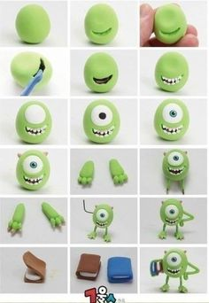 Fimo Fondant Monster Inc. Monsters Inc, Polymer Clay Projects, Diy Clay, Monster University Personajes, Fimo Disney, Polymer Clay Disney, Chez Laurette, Crea Fimo, Monster Inc Party