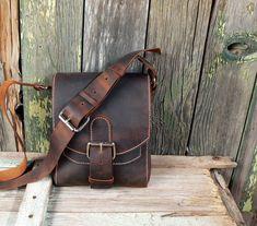 the FIELD Bag handmade - Hand Stitched Leather Satchel, Messenger Bag, men's, women's - Feral Empire. $245.00, via Etsy.