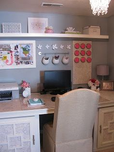 another desk in closet idea - like the hanging buckets for small stuff and magazine racks.