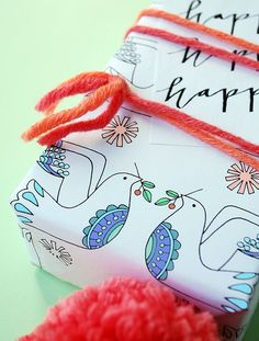 Free printable Christmas wrap and tags for colouring - Lisa Tilse for We Are Scout. #coloring