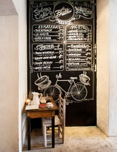 Framed chalkboard over coffee station with stenciled logo or local artist work