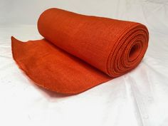 """14"""" Tangerine Burlap 10 Yard Roll Sewn Edges - Made In USA Burlap Ribbon, Decorative Items, Special Events, Yard, Usa, Sewing, Patio, Dressmaking, Decorative Objects"""