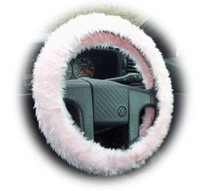 Baby pink Steering wheel cover plain fluffy furry fuzzy faux fur Girly Cute car by PoppysCrafts, £7.49