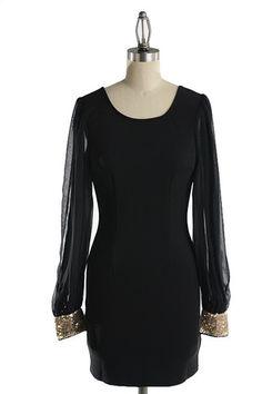 Land of the Midnight Sun Sequin Cuff Dress - Black + Gold