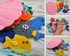 Ocean animals Finger felt toys for children. Educational toy set Under The Sea. Toddler gift The post Ocean animals appeared first on Toddlers Diy. Felt Puppets, Felt Finger Puppets, Hand Puppets, Mummy Crafts, Felt Crafts, Baby Quiet Book, Quiet Books, Diy For Kids, Crafts For Kids