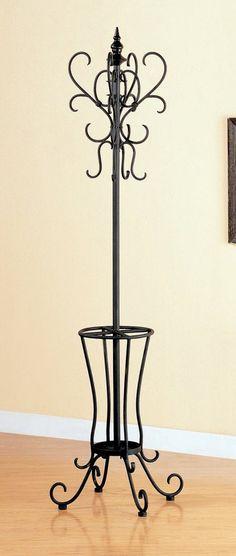 Classic Black Metal Coat Rack Hat Stand w/Umbrella Holder Decor, Wrought Iron Furniture, My Furniture, Wrought Iron Decor, Iron Work, Umbrella Holder, Coat Rack, Hat Stands, Iron Decor