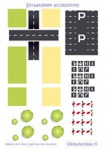 Straaplaten voor kleuters A3, straatdelen accessoires, kleuteridee.nl , road for preschool, free printable.