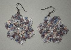 large riverstone tatted earrings with Swarovski Crystals, lightweight, tatting lace jewelry, handmade lace, hand-dyed thread by TattingByWendy on Etsy