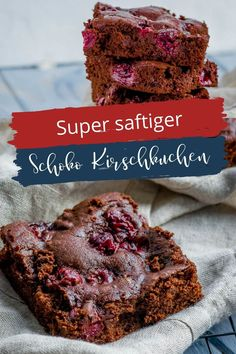 Super saftiger Schoko Kirschkuchen. - wird mit flüssiger Schokolade gebacken - für die Backform oder als Blechkuchen. Mega lecker! Cupcakes, Super, Desserts, Blog, Chocolate Cake With Cherries, Cherry Cake, Bakeware, Sweet Recipes, Sheet Cakes