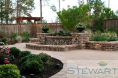 At Stewart Land Designs we specialize in the design and installation of custom pools, irrigation, lighting, pavers, retaining walls and water features. Creative Landscape, Landscape Designs, Custom Pools, Traditional Landscape, Water Features, Garden Bridge, New Homes, Backyard, Exterior