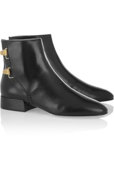 Chloé | Leather Buckle Ankle Boots - Black leather pointed boots. Heel measures approx. 25 mm. Side buckle closure.