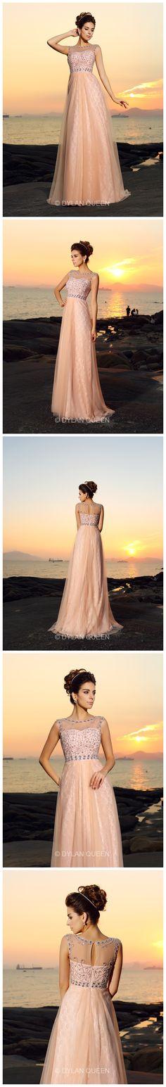 A-Line/Princess Bateau Sleeveless Floor-length Chiffon Lace Dresses Prom Dresses 2016, Cheap Prom Dresses, Wedding Dresses, Roman Hairstyles, Prom 2015, Prom Queens, 3d Prints, Playgrounds, Mtb