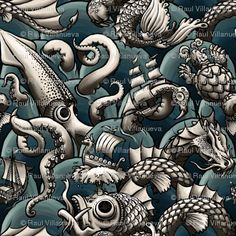 sea monsters (blue sea)