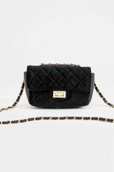 Jazzy Mini Quilted Velvet Crossbody Fall Outfits, Chanel, Velvet, Shoulder Bag, Handbags, Mini, Cute, Gifts, Black