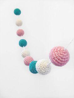 Crochet Garland Crochet Bunting Crochet Ball Crochet by MossyMaze Crochet Christmas Garland, Crochet Garland, Crochet Ball, Crochet Decoration, Crochet Home, Diy Crochet, Crochet Summer, Crochet Bunting Pattern, Crochet Shrug Pattern