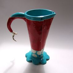 whimsical pottery Vase or Pitcher turquoise & red by maryjudy