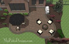 Curvy Backyard Patio Design | 480 sq ft | Download Installation Plan, How-to's and Material List @Mypatiodesign.com